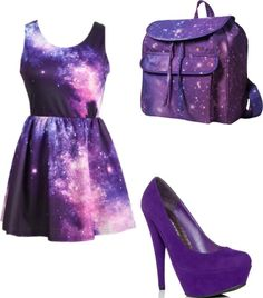 I would so buy this! Galaxy Fashion, Cute Dresses, Formal Dresses, Galaxy Design, Galaxy Print, Purple Fashion, Stylish Outfits, Girl Outfits, Two Piece Skirt Set