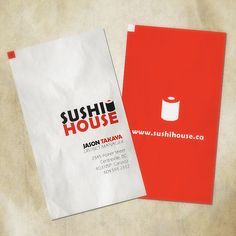 Sushi House - This double-sided business card is for district manager of a fictitious Japanese sushi restaurant. In a bit of unintended foresight, there is actually a restaurant by this name at this URL.