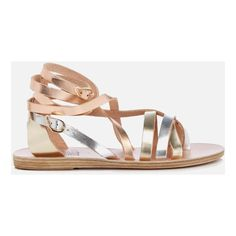 Ancient Greek Sandals Women's Satira Multi Strap Vachetta Leather... ($110) ❤ liked on Polyvore featuring shoes, sandals, silver, platinum sandals, multi strap sandals, platinum shoes, silver gladiator sandals and ancient greek sandals