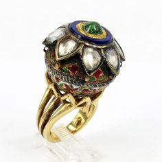Antique 19th Century Indian White Sapphire Enamel 18K Gold Ring Size 6-7