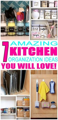 7 Amazing Ways To Organize Your Kitchen Right Now Amazing kitchen organization ideas! Find the best ways to organize your kitchen no matter if it's a small space, apartment, pantry, countertops or cabinets. DIY ideas for bakeware & more. Organizing your k Small Kitchen Pantry, Kitchen Pantry Cabinets, Small Space Kitchen, Diy Kitchen, Kitchen Decor, Small Pantry Cabinet, Organized Kitchen, Smart Kitchen, Kitchen Tips