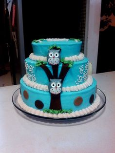 Boy Baby Shower Cake @Nicole Novembrino amor! Im still diggin the owls lol