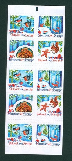 Sweden. Christmas. Panel  With 10 Stamps Mnh. 2013. Self-adhesive. Santa,Forest,
