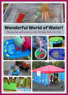 A collection of fun water play ideas shared on the Kid's Co-Op!