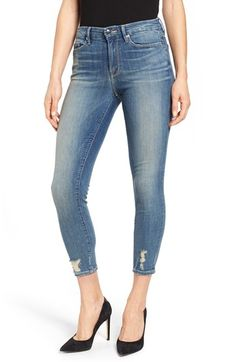 Free shipping and returns on Good American Good Legs Crop Skinny Jeans at Nordstrom.com. Designed with stretch denim to flaunt every curve, these chic skinny jeans are cut with a gap-proof contoured waistband for a precise, ultra-flattering fit. The slightly cropped pair is finished with crisp 3D creases at the thighs and threadbare patches near the hems. Redefining sexy for sizes 0-24, Good American is a new line of premium denim from collaborators Khloé Kardashian and Emma Grede.