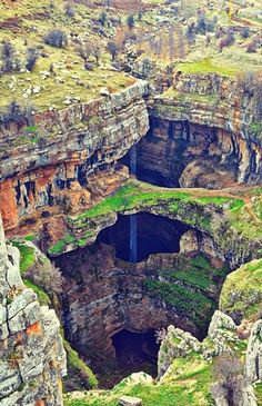 The amazing Baatara Gorge waterfall, located near Tannourine, Lebanon. The waterfall drops 837 ft. (255 m.) into the Baatara Pothole, a cave of Jurassic limestone located on the Lebanon Mountain Trail.