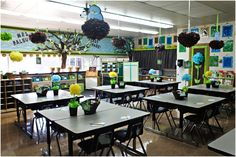 Dream classroom. I absolutely can not stand classrooms that are messy and only use red, blue, and yellow. This is tasteful and lovely and would be so welcoming for students!