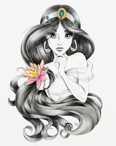 Princess Jasmine with a beautiful lotus flower in her hair Princess Jasmine with a beautiful lotus flower in her hair - Populaire Disney Dessin Disney Princess Jasmine, Disney Princess Drawings, Disney Princess Art, Disney Sketches, Disney Drawings, Cute Drawings, Drawing Disney, Princess Hair, Disney Princesses