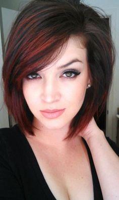 Red highlights. Short hair