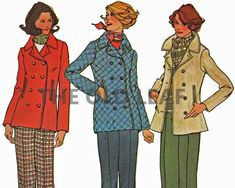 Sewing Pattern for 70s Peacoat & Flare Pants, Simplicity 7139 #70sFashion #PeacoatPattern #PlusSizeFashion #1970sCoats #FlarePants #PreQuiltedJacket #TheOldLeaf