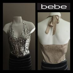 Bebe Sequin Halter Top 🌟100% SILK! Gorgeoussss! Silver sequins in the front, pretty beige colored silk in the back. This ties in the back and has hook closures in the front. Very elegant with a skirt or nice pants🌟This is in great condition, all sequins intact🌟 🎉Host Pick x 2🎉 @dimndgrl @shawina22🎉 bebe Tops