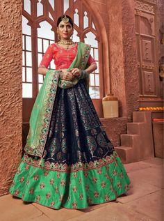 Pack Of 7 Piece JacquardWedding Wear Lehenga Choli Silk Lehenga, Bridal Lehenga, Lehenga Collection, Pink Prom Dresses, Fabric Shop, Wedding Wear, Indian Beauty, Party Wear, Style Icons