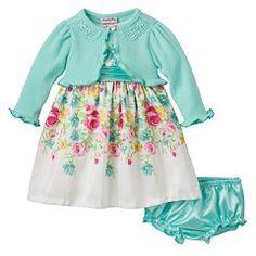 Baby Girl Nannette Ruffle Shrug & Floral Shantung Dress Set
