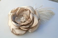 Fabric Flower Hair Piece in Champagne Lady by DinkybirdBoutique, $38.00