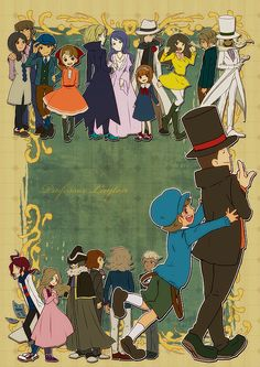 Professor Layton main characters ~ posted by @yashiyo on Twitpic.