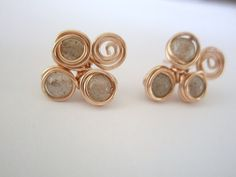 Labradorite Studs Wire Wrapped stones Stud Earrings by idooidoo, $20.00