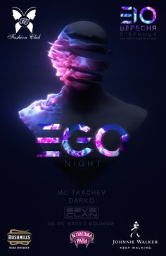EGO night flyer for the Fashion club Lviv Web Design, Game Design, Creative Design, Event Poster Design, Graphic Design Posters, Graphic Design Inspiration, Flyer Design, Futuristic Design, Creative Posters