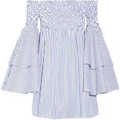 Caroline ConstasApollonia Off-the-shoulder Smocked Striped... (2,080 MYR) ❤ liked on Polyvore featuring dresses, blue, off the shoulder dress, striped dress, off the shoulder mini dress, loose fitting dresses and smocked dresses