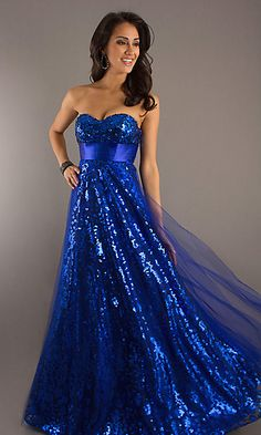 Long Strapless Blue Ball Gown at PromGirl.com