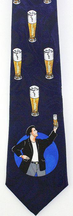 New Beer Man Mens Necktie Alcohol Pilsner Glass Pub Bar Drinking Blue Neck Tie #StevenHarris #NeckTie