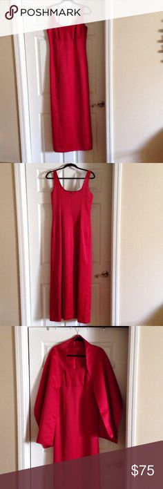 Red maxi dress Long red sleeveless dress with matching wrap. Worn once. Ann Taylor Dresses Maxi