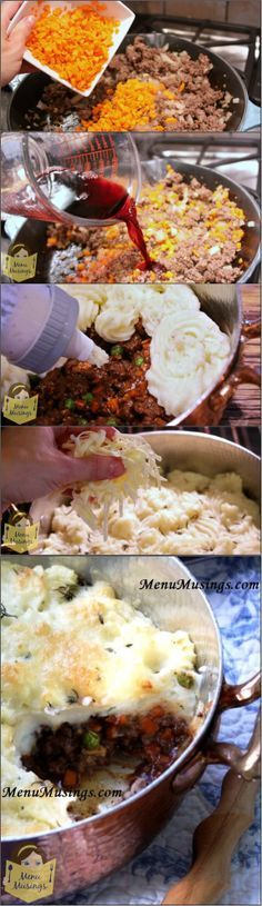 High Class Shepherd's Pie - a well seasoned layer of thick saucy meat, beautiful al dente carrots and baby peas, a layer of fluffy brown butter mashed potatoes with a sprinkling of white cheddar and fresh thyme. A great representation from all the food groups, and a great way to stretch a budget!  Follow me with step-by-step photos!