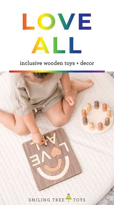 We are so excited to announce our new 'Love All' collection that celebrates diversity, inclusion, equality, justice and, well, LOVE! These brand new takes on some of our most well-loved keepsake wooden toys and decor pieces are everything (and more) that you already love about Smiling Tree Toys products - simple, educational, all natural, heirloom quality, and FUN. Hurry – this collection is only available in extremely limited quantities so grab yours now! #loveall Pretty Kids, Childrens Gifts, Wood Toys, New Love, Diversity, Equality, First Birthdays, Gifts For Kids, Education