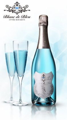 Blanc de Bleu - blue champagne. I can't believe it's only $36 a bottle but you can only get it if you live in California. I mean seriously, I live one state up, just send me some. geeez! Also it's blue because they put blueberry extract in it. YUM!