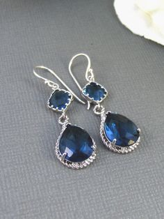 Something Blue,Earrings,Sapphire Earrings,Silver Earrings,Sterling Silver,Bride,Blue,Navy,Wedding,Handmade jewelery by Valleygirldesigns