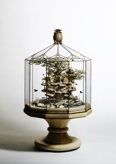 Takanori Aiba: Intricate building sculpture in the bonsai style 191 x 263 Sculpture Metal, Bonsai Styles, Fairy Houses, Tree Houses, Glass Domes, Model Homes, My New Room, Architecture, Cool Stuff
