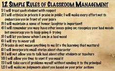 12 Simple Rules of Classroom Management