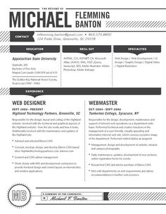 Resume Design Layout Inspiration - precise, to the point, easy to read, leads eye to information / comparison of color impact on resumes : classic black ('the Detailed' by Lost Resumes)