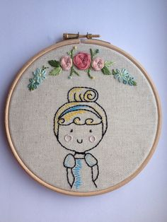 Princess embroidery hoop art by mamamila