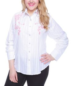 Another great find on #zulily! White Embroidered Snap-Up Top - Plus #zulilyfinds