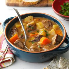 Ravin' Good Stew Recipe -This stew is loaded with ingredients. It's sure to fill up the kids before they head out trick-or-treating, and the family enjoys it all season long! —Shirley Smith, Yorba Linda, California