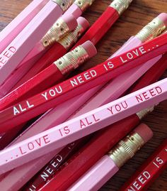 Love is All You Need. Engraved Pencil 6 Pack Romantic, Fun Valentine Gift, gift under gift for teacher, gifts for friends, sweet gifts Best Valentine Gift, Funny Valentine, Valentine Wishes, Saint Valentine, Valentines Day, Planners, Wooden Pencils, Gifts Under 10, Wedding Favours