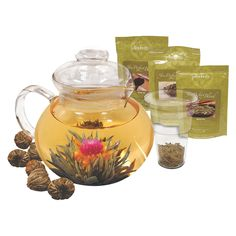 Primula offers the perfect gift set for tea connoisseurs and beginners alike with the Tea Experience Gift Set.   Includes a 40oz hand-blown borosilicate glass tea pot, a glass tea infuser with glass lid, 6 flowering green tea bulbs and 3 packets of loose tea in black, white and green tea flavors.   The finest tea leaves are cultivated, and carefully blended with dried flowers in an encapsulated pod.   When hot water is added to the tea ball, a gentle, graceful flower emerges within your pot…