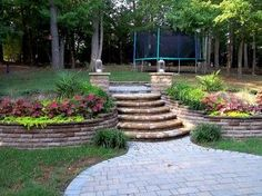 terraced backyard with stairs and paver patio traditional landscape ...
