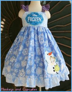 Frozen Anna and Olaf Dress -Custom boutique https://www.facebook.com/pages/Monkeys-and-Cupcakes/53319582017