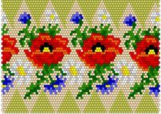 Beaded Cross Stitch, Cross Stitch Borders, Cross Stitch Flowers, Crochet Ornaments, Beaded Ornaments, Beaded Flowers Patterns, Beading Patterns, Bead Crochet Rope, Crochet Ball
