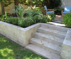 New garden diy projects landscaping retaining walls Ideas Retaining Wall Fence, Concrete Block Retaining Wall, Landscaping Retaining Walls, Concrete Stairs, Front Yard Landscaping, Retaining Wall Gardens, Retaining Wall With Steps, Sleeper Retaining Wall, Landscaping Melbourne