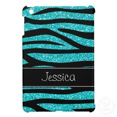 Teal Blue Faux Glitter Zebra Personalized iPad Mini Cases
