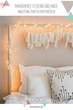In case you are in search of a simple DIY for newbies, simply begin with macrame f… Room Ideas Bedroom, Bedroom Wall, Bedroom Decor, Feather Garland, Feather Decorations, Macrame Design, Boho Diy, My New Room, Girl Room