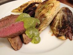 Low carb: Lamb with grilled fennel and cioccorino rosso and salsa verde. Salsa Verde, Lamb, Steak, Low Carb, Beautiful, Food, Friends, Cooking, Eten