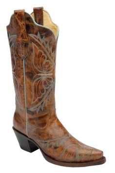 Corral Women's Blue Butterfly Embroidered Cognac Cowgirl Boots | Women's Boots