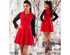 Платье-рубашка на пуговицах красный/рукава темно-синие