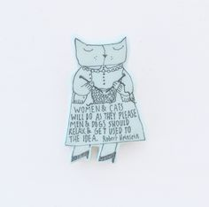 A handmade wooden cat pin from folkgarden. A perfect gift for a cat loving knitter!