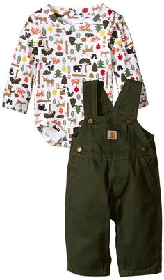 Carhartt Baby Boys' Outdoors Overall Set, Dark Green, 3 Months Toddler Outfits, Baby Boy Outfits, Kids Outfits, Fall Outfits, Baby Boy Fashion, Kids Fashion, Baby Overalls, Overalls Outfit, Toddler Boys