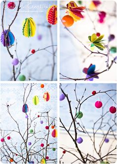Ullpärlor i påskriset - Idébank - DIY - Make & Create Easter Tree, Easter Eggs, Egg Tree, Diy Projects To Try, Easter Crafts, Holidays And Events, Halloween, Decoration, Something To Do