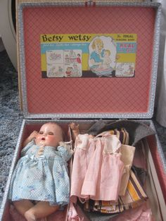Vintage Antique 1940's Betsy Wetsy Rubber Doll, travel case, clothes lot